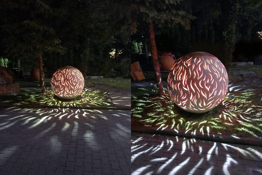 Kula betonowa jako oświetlenie parkowe