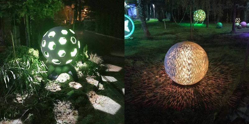 Świecące kule ogrodowe wykonane z betonu