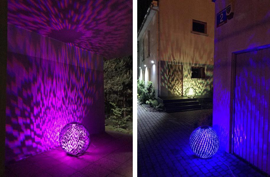 Oświetlenie elewacji kulami ogrodowymi