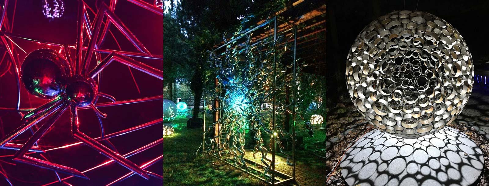 Ogrodowe dekoracje ze stali nierdzewnej świecące nocą