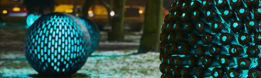 Świecące kule ogrodowe ze stali